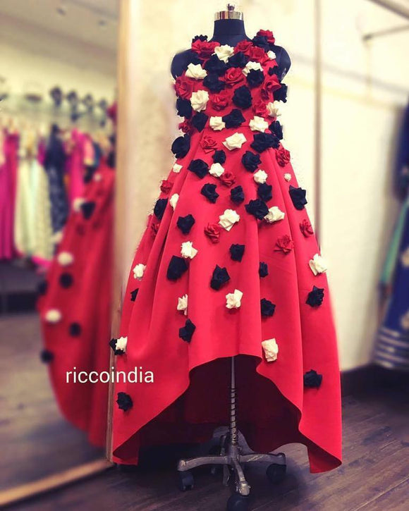 Hand made flower dress Red
