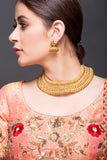 Gold choker necklace with jhumki