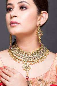 Kundan And Polki Necklace With Earrings
