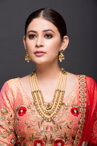Kundan & Pearl Layered Necklace with Earrings