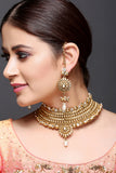 Gold Necklace with Kundan & Pearl Drop