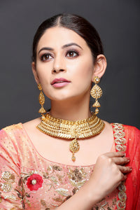 Antique Gold & Kundan Necklace With Earrings
