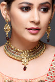 Kundan Necklace Set With Red And Green Stones