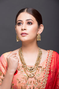 Triple Layer Kundan Necklace With Earrings
