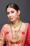 Classic gold Bridal choker and rani haar With Red Drops