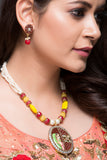 Indian lady design Pendant with onyx stones mala
