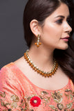 Kundan and Beads Necklace With Earrings