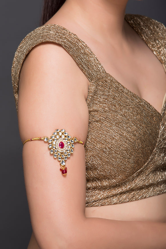 Kundan Baaju Band With Pink Stone