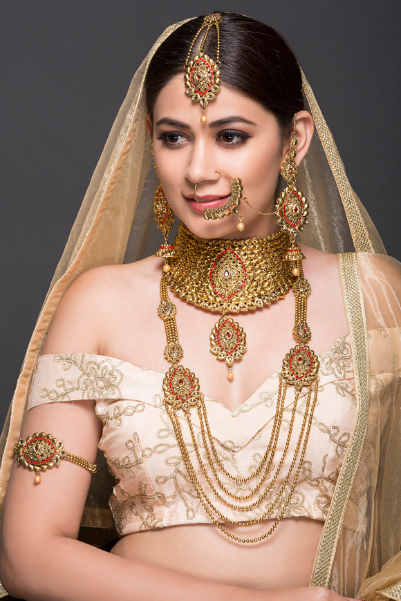 Bridal Set With Red Stone Detailing