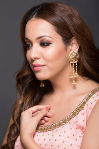 Hanging Jhumka Earring With Pearls