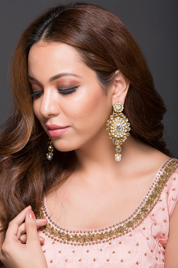 Kundan Earring With Pearl Drop