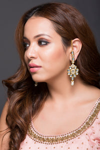 Kundan Earring With Over-The-Ear Kundan Chain