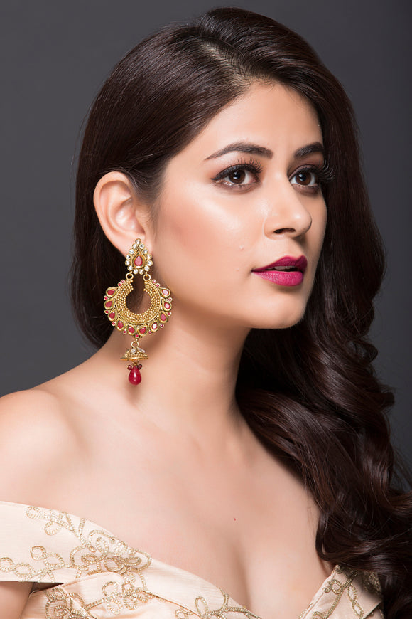 Chand-Bali & Jhumki With Maroon Stone