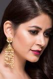 Gold Plated Jhumki With Swirling Pearl Drops For Women