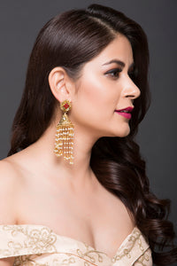 Gold Plated Fashion Jhumki For Women With Swirl Pearl Drops