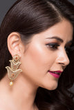 Laser-Cut Fashion Earrings With Pearl Drop