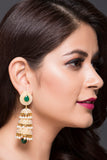 Triple Layer Jhumka With Green Stones & White Pearls For Women