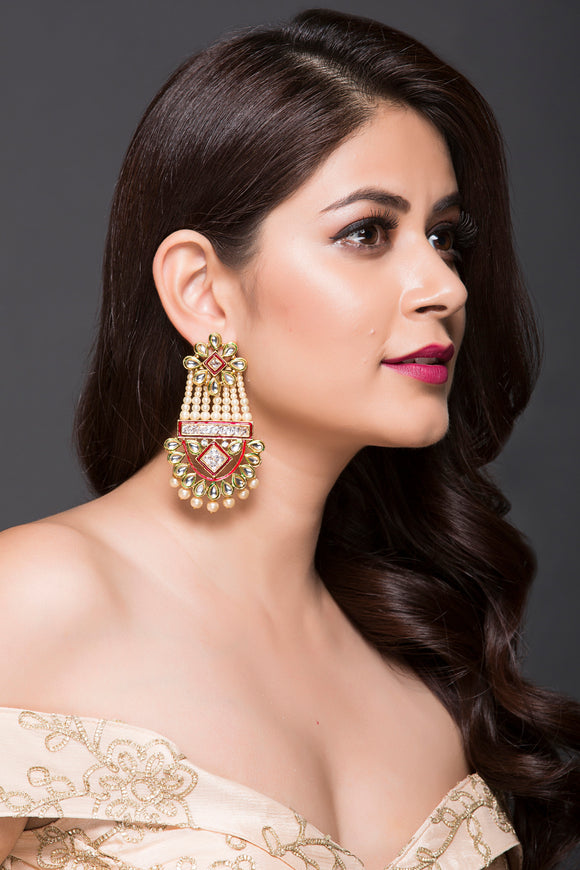 Bold Earring With Pearls, Kundan, American Diamond & Meena Filling For Women