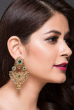 Machined Chaand-Bali + Jhumki With Green & Golden American Diamonds