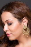 Fashion Earring With Brown & Golden American Diamonds