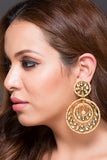 Circular Kundan Earring With Fresh Water Tiny Pearls