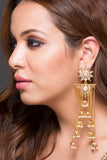 Floral Earring With 9 Jhumki Drops With Pearls
