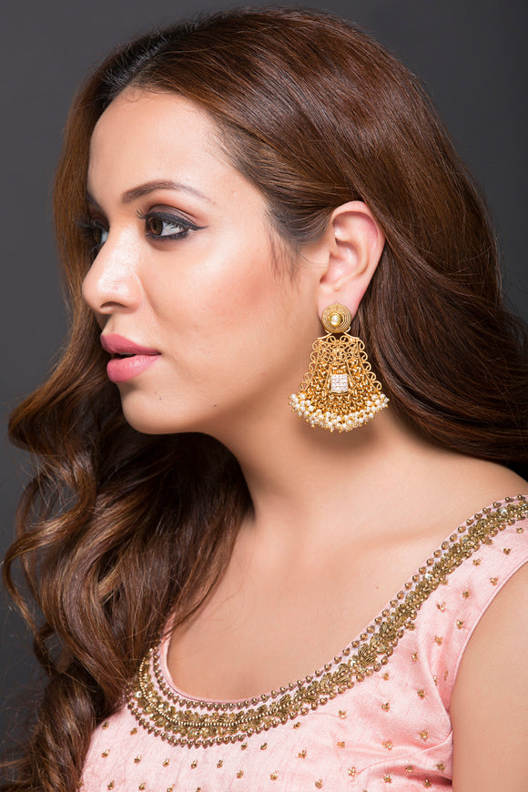 Fashion Earring For Women With Pearls, Kundan & CZ Stones