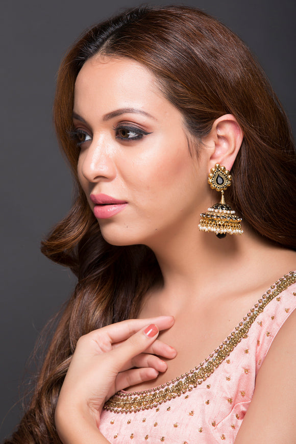 Beautiful Jhumki With Black CZ stones & Meenakari