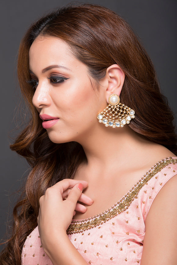 Elegant Web Type Earring With AD,Polki & Pearls