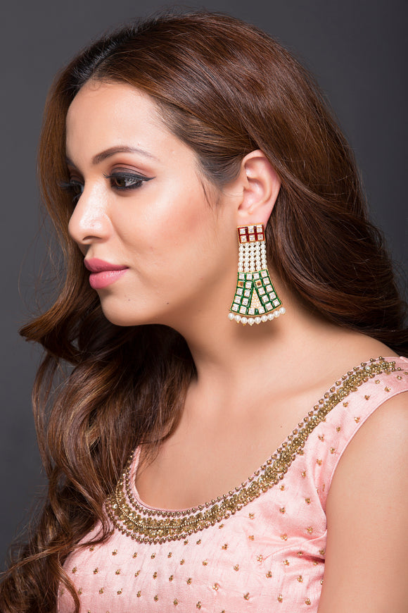 Kundan Fashion Earring With Pearls For Women
