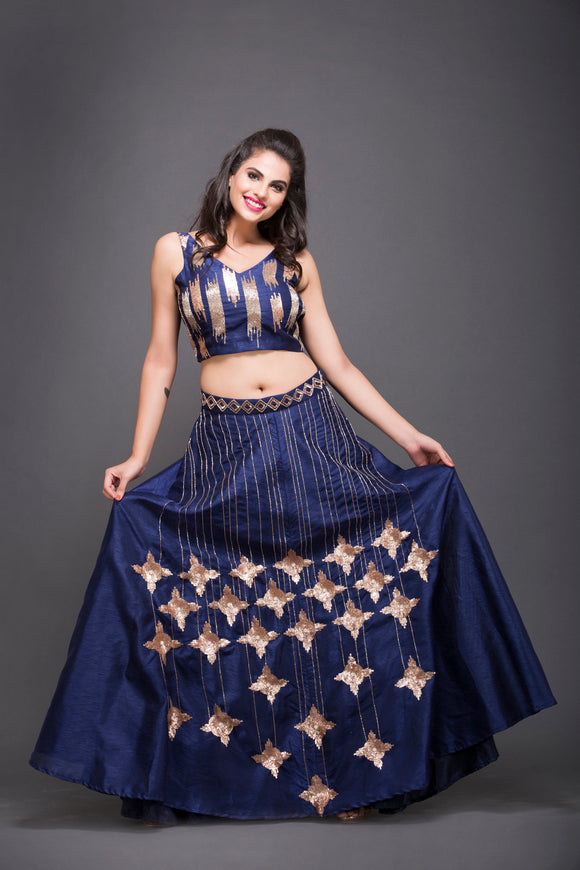 Royal Blue Embroidered Crop Top Skirt