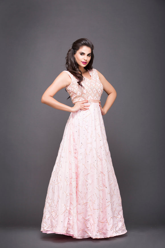 Embroidered Gown In Pink For Women