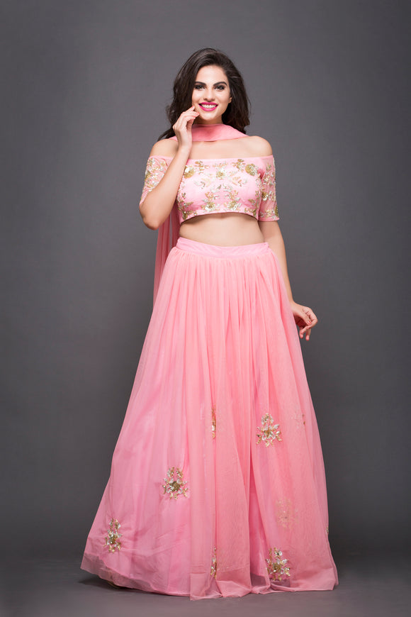 Baby Pink Lehenga With Hand Embroidery