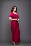 Wine Saree-Gown With Hand-Embroidery
