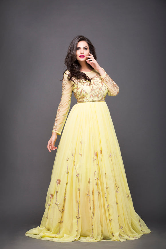 Sequin Work Pale Yellow Gown with train