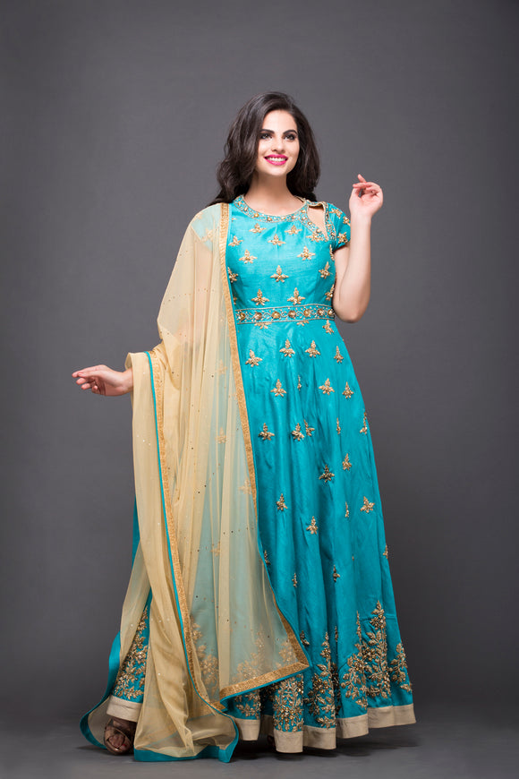 Sky Blue Embroidered Anarkali Suit With Beige Dupatta