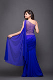 Blue Hand Embroidered Saree-Gown