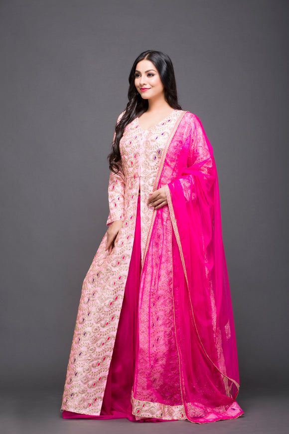 Baby Pink Embroidered jacket with hot pink skirt and dupatta