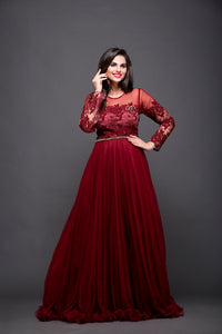 Maroon Cocktail Gown With Lace & Thread Work