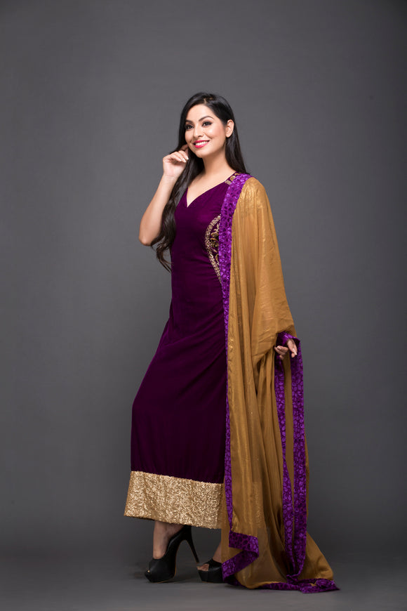 Hand Embroidered Velvet Straight Suit With Dupatta