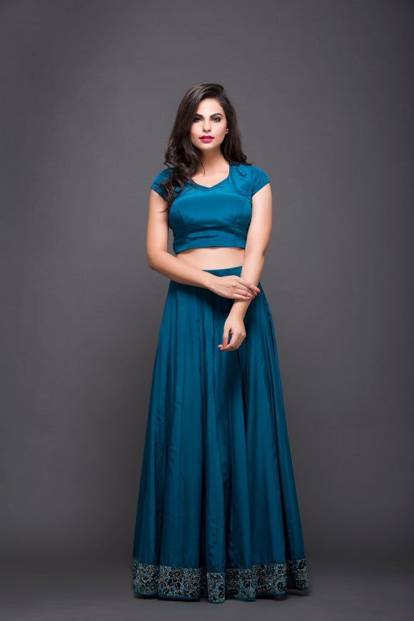 Blue Embroidered Skirt With Crop Top