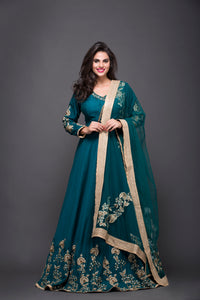 Aqua Blue Hand Embroidered Anarkali Suit