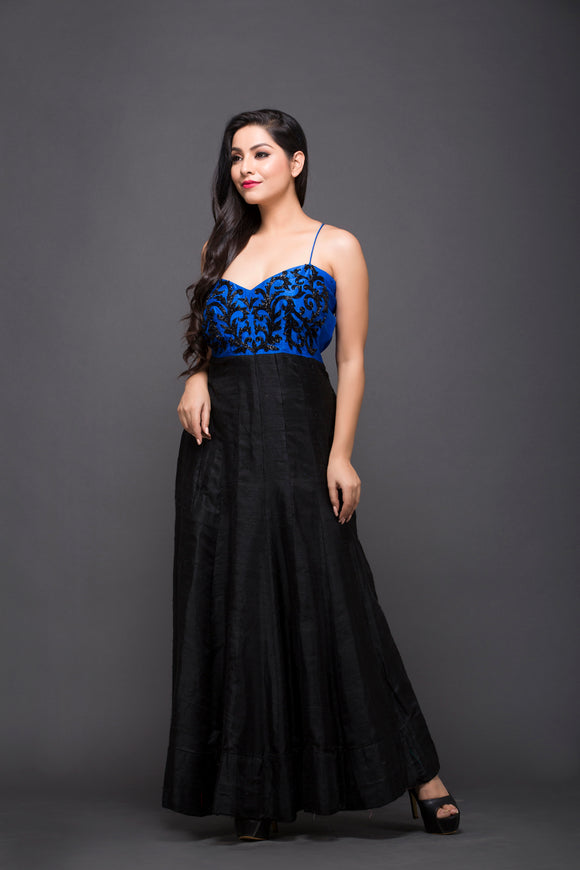 Hand Embroidered Cocktail Gown In Blue & Black