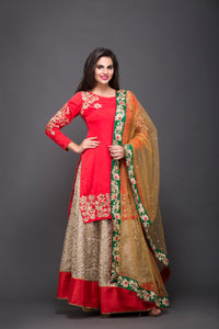 Pakistani style lehenga with kurta