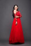 One sided cold shoulder red cocktail gown