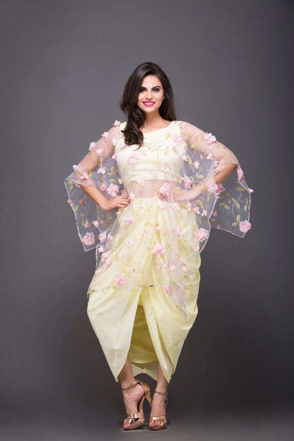 Dhoti & Crop Top With Veil In Yellow