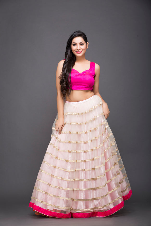 Gota work skirt with hot pink blouse