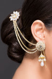 Hair Clip With Earring in AD and Pearl