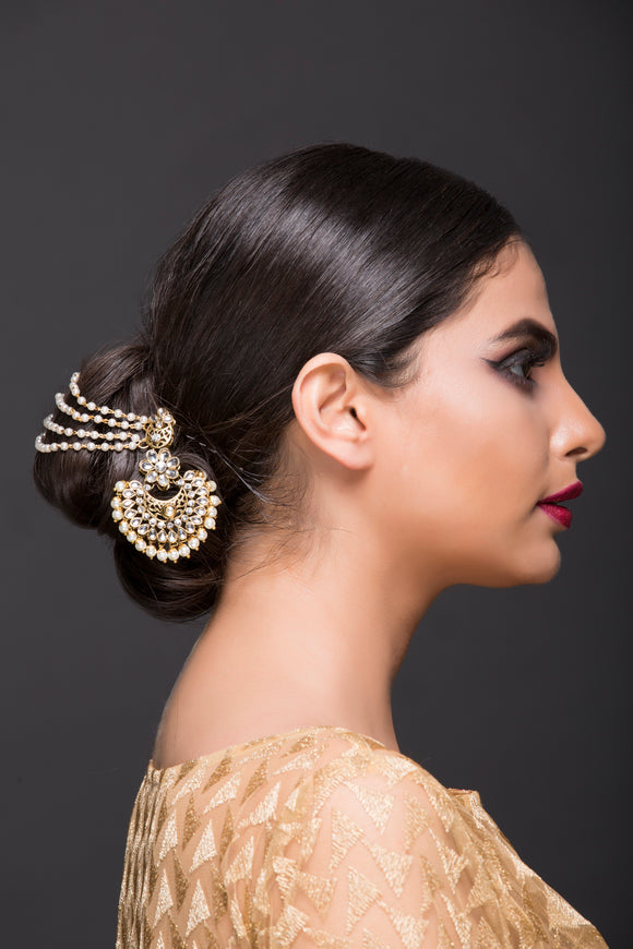 Pearl And Kundan Hair Accessory
