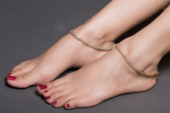 American Diamond Anklet With Gold Base